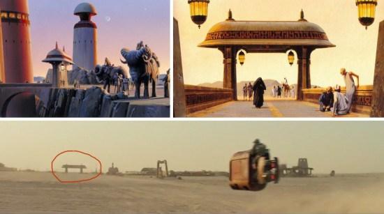El portico visto en Jakku iba a ser la entrada al pacio de Jabba